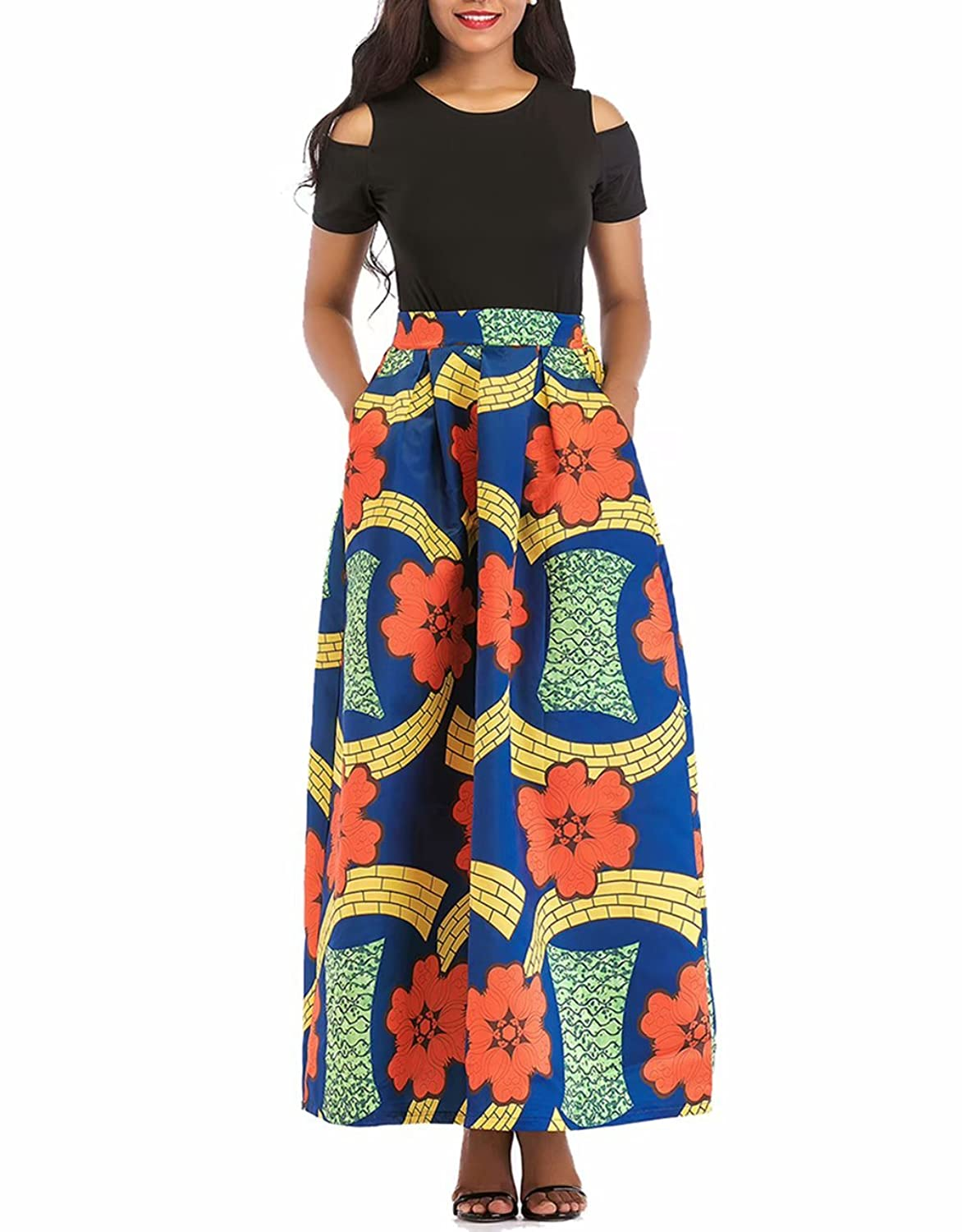 209ff0ed ... Shoulder,Short Sleeve/Long Sleeve,Black Tops,Graphic African Floral  Print,Elastic Waistband,With Pockets,A Line Long Skirt,2 Piece Dress Set  Outfit