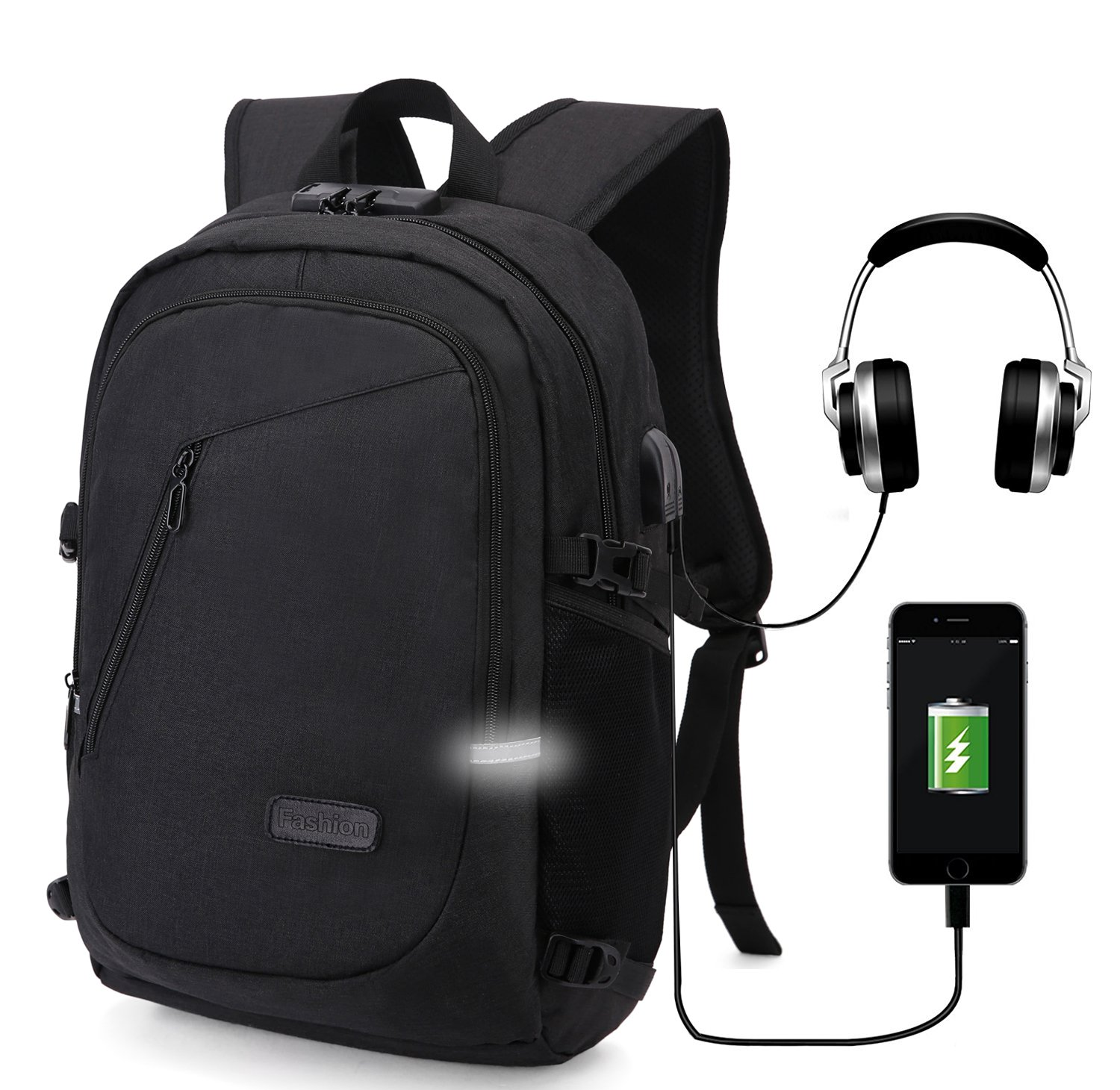 Travel Backpack,Anti Theft Water Resistant College School Bookbag for Women Men,Business Laptop/Compute Backpack with USB Charging Port & Headphone Interface Fits 15.6 Inch Laptop & Notebook,(Black)