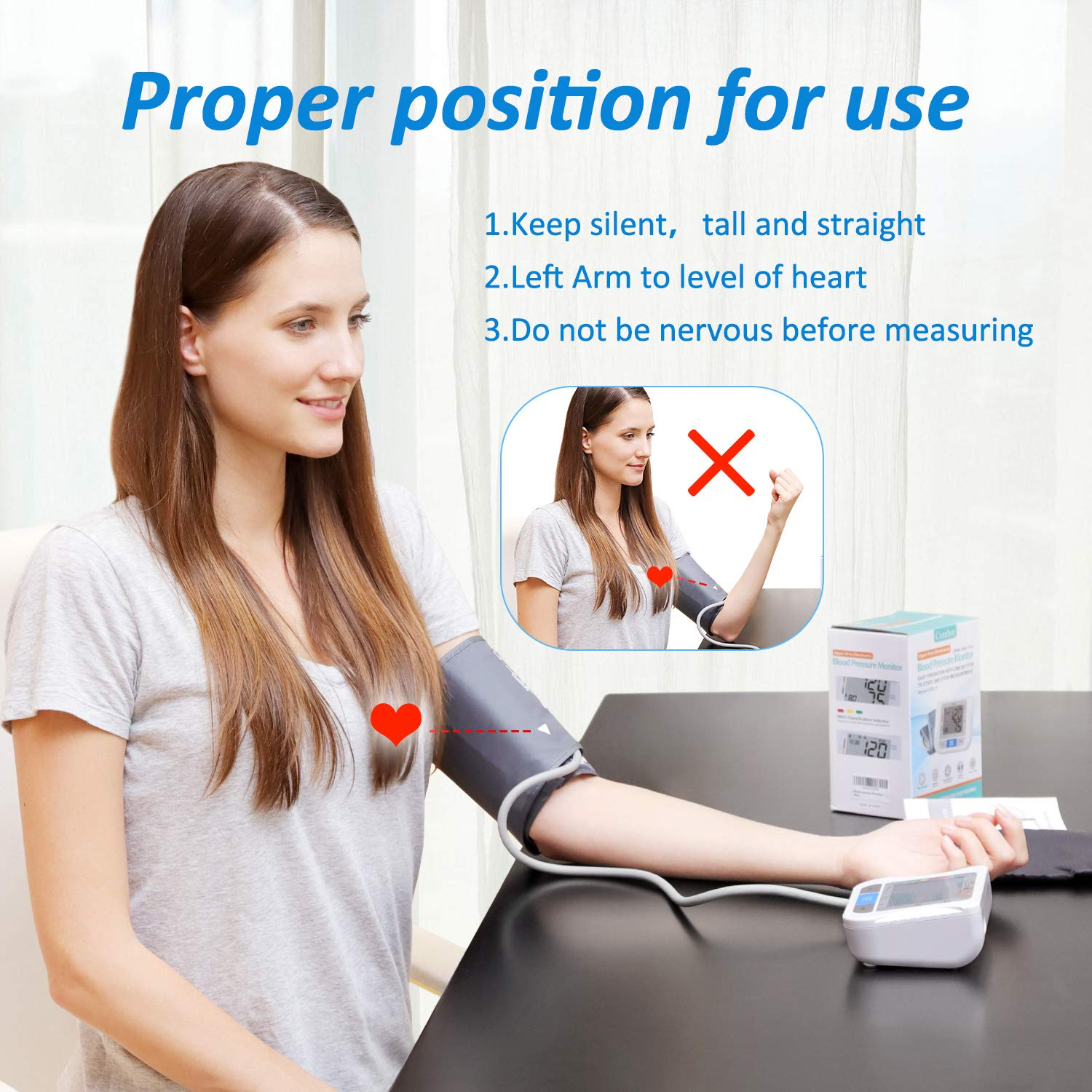 Blood Pressure Monitor Upper Arm with 2 User Mode 180 Memory – Accurate BP Monitor with Extra Large Cuff Kit fits Standard and Large Arms – Digital Blood Pressure Machine for Adult,Pregnancy-Batterie