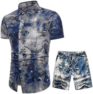 BESBOMIG Camisa Hawaiana y Pantalones Cortos para Hombre - Cómodo 2PCS L-5XL para la Playa, Fiestas, Verano: Amazon.es: Ropa y accesorios