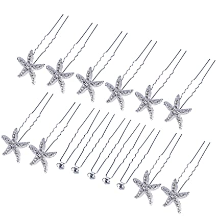 Diamante Hair Bows 10 Clips 5 Sets Of 2