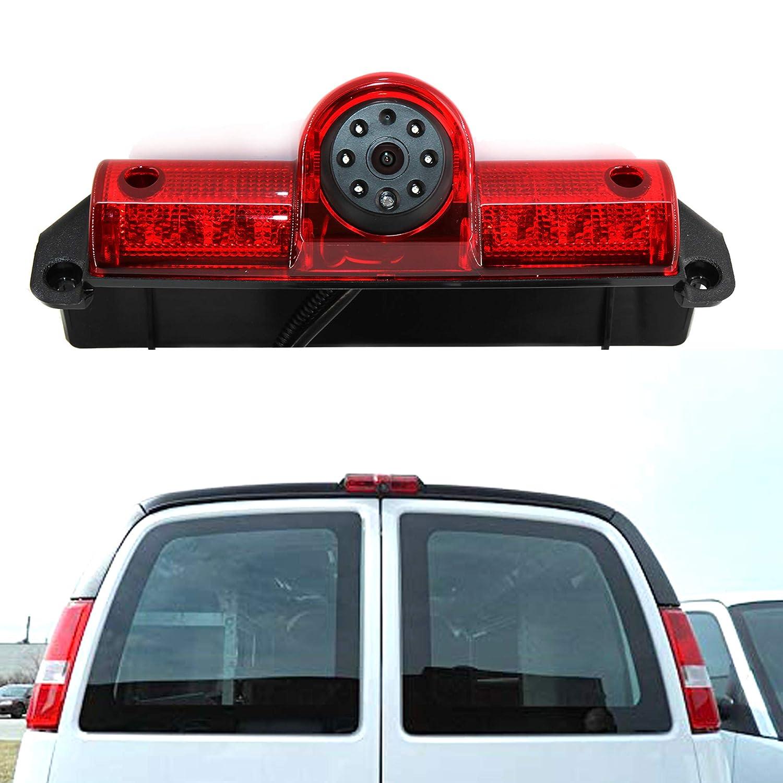 Eway Third Car Brake Light Backup Camera for GMC Savana Chevy Express 2003-2016 Reverse Rear Reversing View Auto Cameras Parking LED Backup Backing Camera