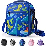 Kids Lunch box Insulated Soft lunch Bag Mini Cooler Thermal Meal Tote Kit with Handle and Pocket for Girls Boys Cute Dinosaurs Blue
