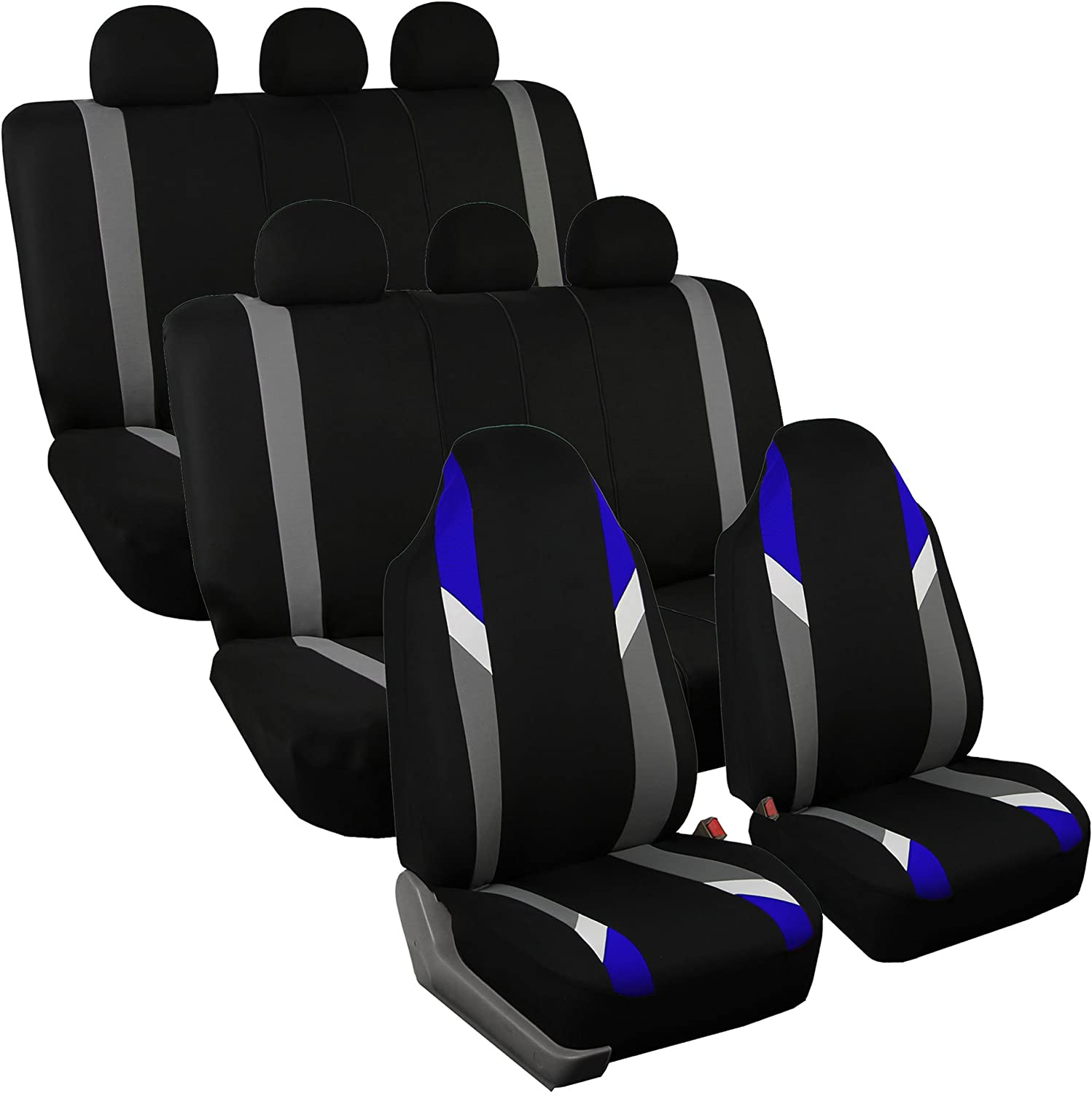 FH Group FB133128 Three Row- Premium Modernistic Seat Covers Blue/Black- Fit Most Car, Truck, SUV, or Van