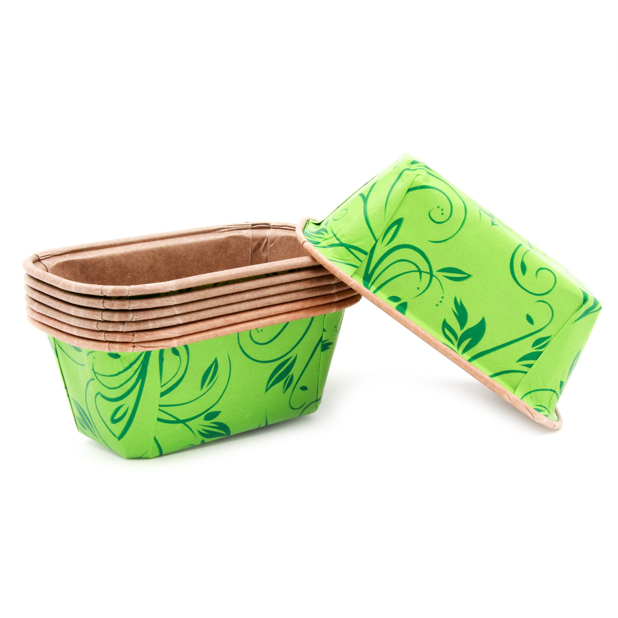 Premium Personal Mini Size Paper Baking Loaf Pan, Perfect for Chocolate Cake, Banana Bread Green Set of 30 - by EcoBake