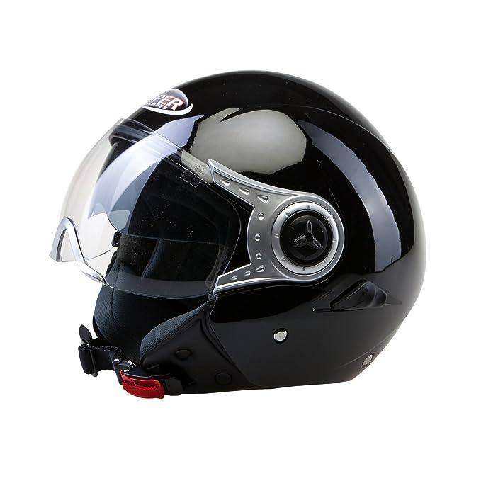Amazon.es: CASCO ABIERTO RS-V18 DEMI JET MOTO SCOOTER AJUSTABLE ECE HOMOLOGADO PARA HOMBRE Y MUJERES DOBLE VISERA NEGRO BRILLANTE (XS (53-54 CM))