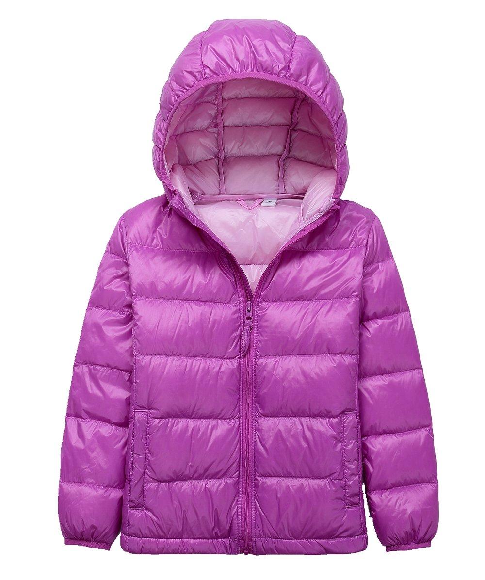 LANBAOSI Kid's Puffer Jacket Boy's Girl's Packable Hoodie Down Parka Jacket Coat,Purple,8