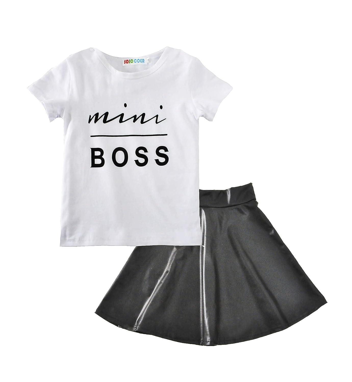TTMOW Baby Girls oddler Kids Mini Boss Letter T-Shirt Tops Lovely Skirts Outfits 2PCS
