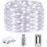 HSicily USB Plug in Fairy Lights with Remote Control Timer, 8 Modes 40ft 120 LED USB String Lights with Adapter,Cool White LE