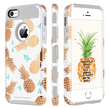 buy online c899a 2612e iPhone SE 5S 5 Case, iPhone SE 5S 5 Case Pineapple, BENTOBEN 2 in 1 Slim  Gold Pineapple Design Hard PC Soft TPU Glossy Anti-Scratch Shockproof ...