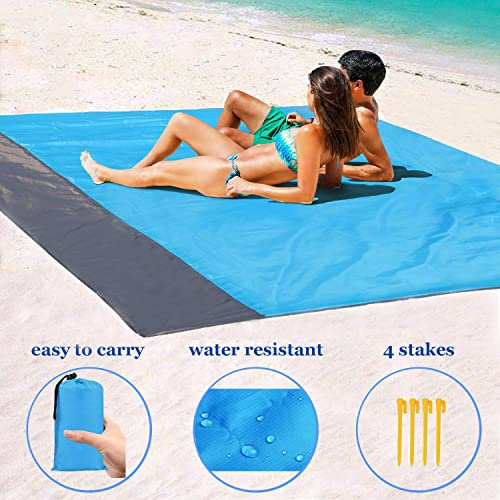 1byhome Beach Blanket 73 x83 6 x7 Outdoor Picnic Blanket, Waterproof Sand Free Quick Drying Nylon Outdoor Beach Picnic Mat with with Compact Storage Bag