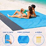 "1byhome Beach Blanket 73""x83"" (6'x7') Outdoor Picnic Blanket, Waterproof & Sand Free Quick Drying Nylon Outdoor Beach Picnic Mat with with Compact Storage Bag"