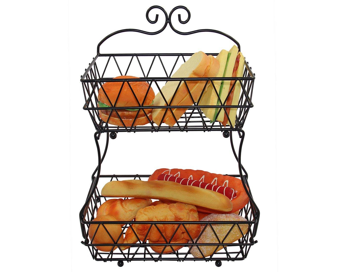 IZLIF 2 Tier Bread Fruit Basket Storage Display Stand Rack with Screws Free Design- Black