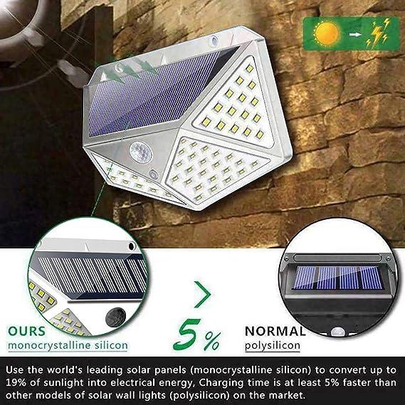 YHLVE 100 LED Solar Light,Luz Solar Exterior - Lámpara Solar ...
