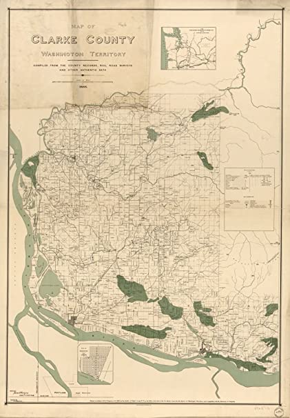 Amazon.com: Vintage 1888 Map of Clarke County, Washington Territory on