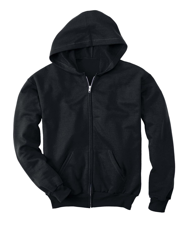 Medium Hanes Youth 7.8 oz ComfortBlend EcoSmart 50//50 Full-Zip Hood BLACK