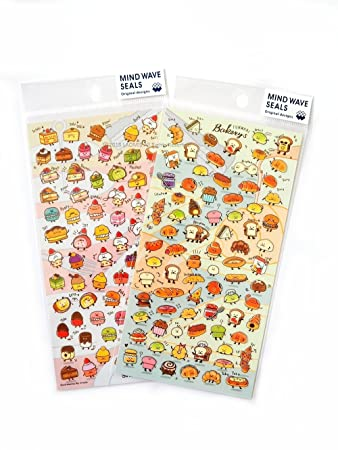 Mind wave japanese clear mini sticker sheets sweets bakery pack of 2