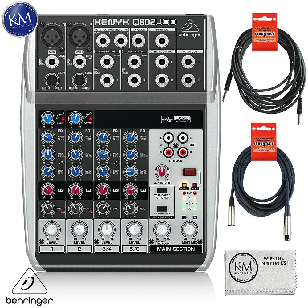Behringer XENYX Q802USB Premium 8-Input 2-Bus Mixer + 1 x 20ft Structure XLR Cable + 1 x 18.6 ft Strukture Instrument Cable + K&M Micro Fiber Cloth Bundle by K&M (Image #1)