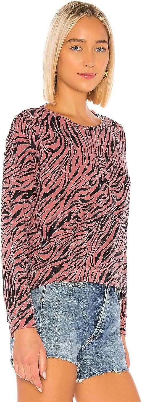 SUNDRY Womens Zebra Crop Blouson Sweatshirt