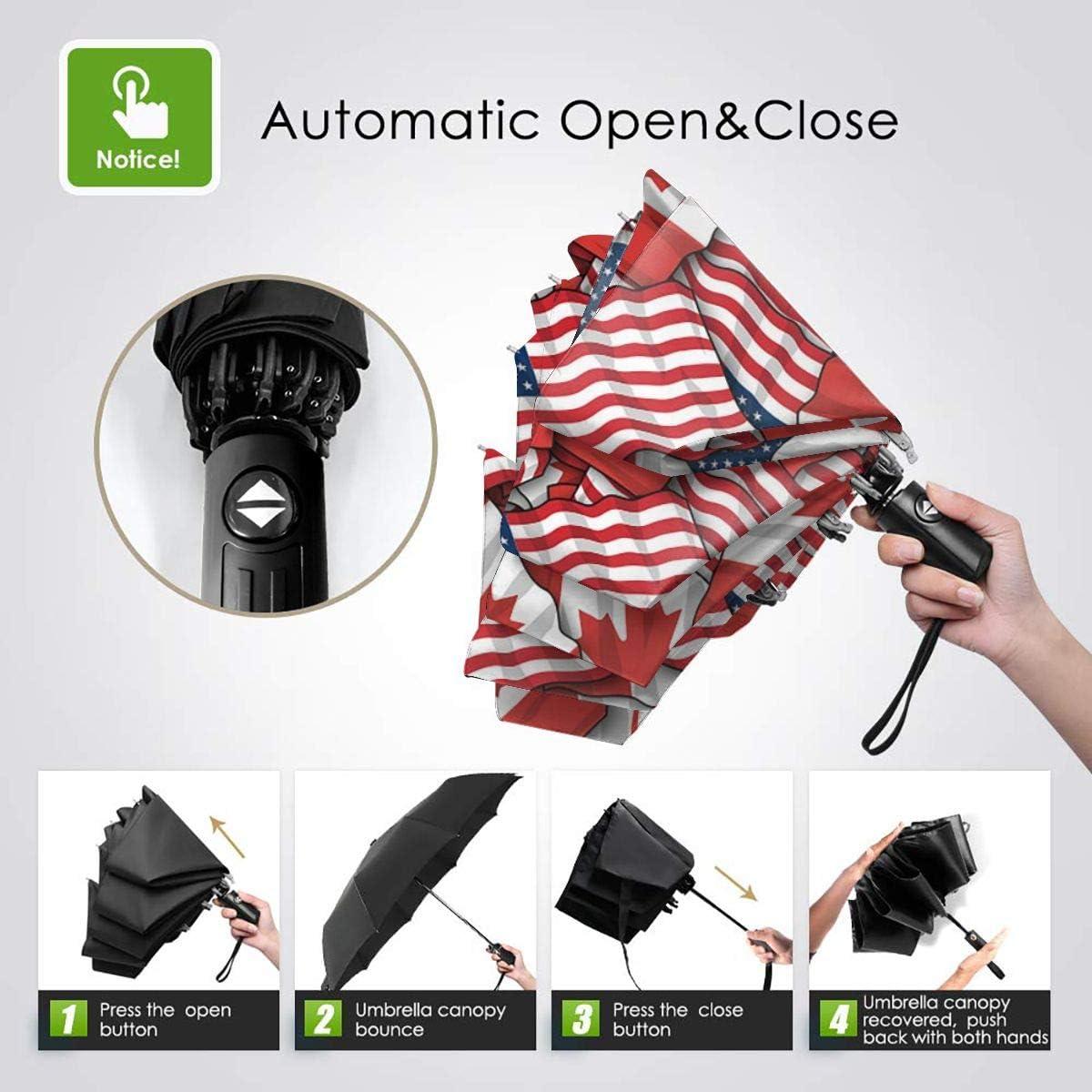 Canadian American Flag Pattern Umbrella Compact Rain/&Wind Repellent Umbrellas Sun Protection With Anti UV Coating Travel Auto Folding Umbrella