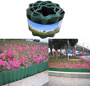 Akemaio Jardín de césped de plástico Borde de Borde Borde de Planta Piquete Cercado Paneles de Enclavamiento para parterres, 9m * 15cm: Amazon.es: Hogar