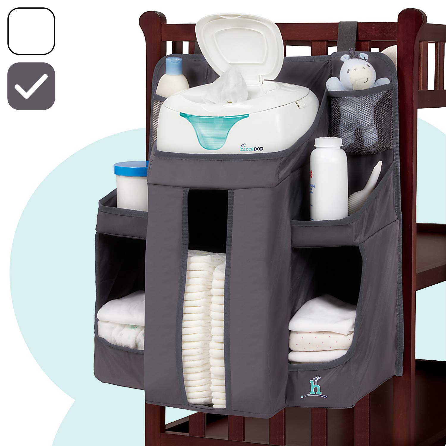 hiccapop Nursery Organizer and Baby Diaper Caddy | Hanging Diaper Organization Storage for Baby Essentials | Hang on Crib, Changing Table or Wall by hiccapop