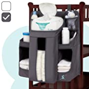 hiccapop Nursery Organizer and Baby Diaper Caddy   Hanging Diaper Organization Storage for Baby Essentials   Hang on Crib, Changing Table or Wall