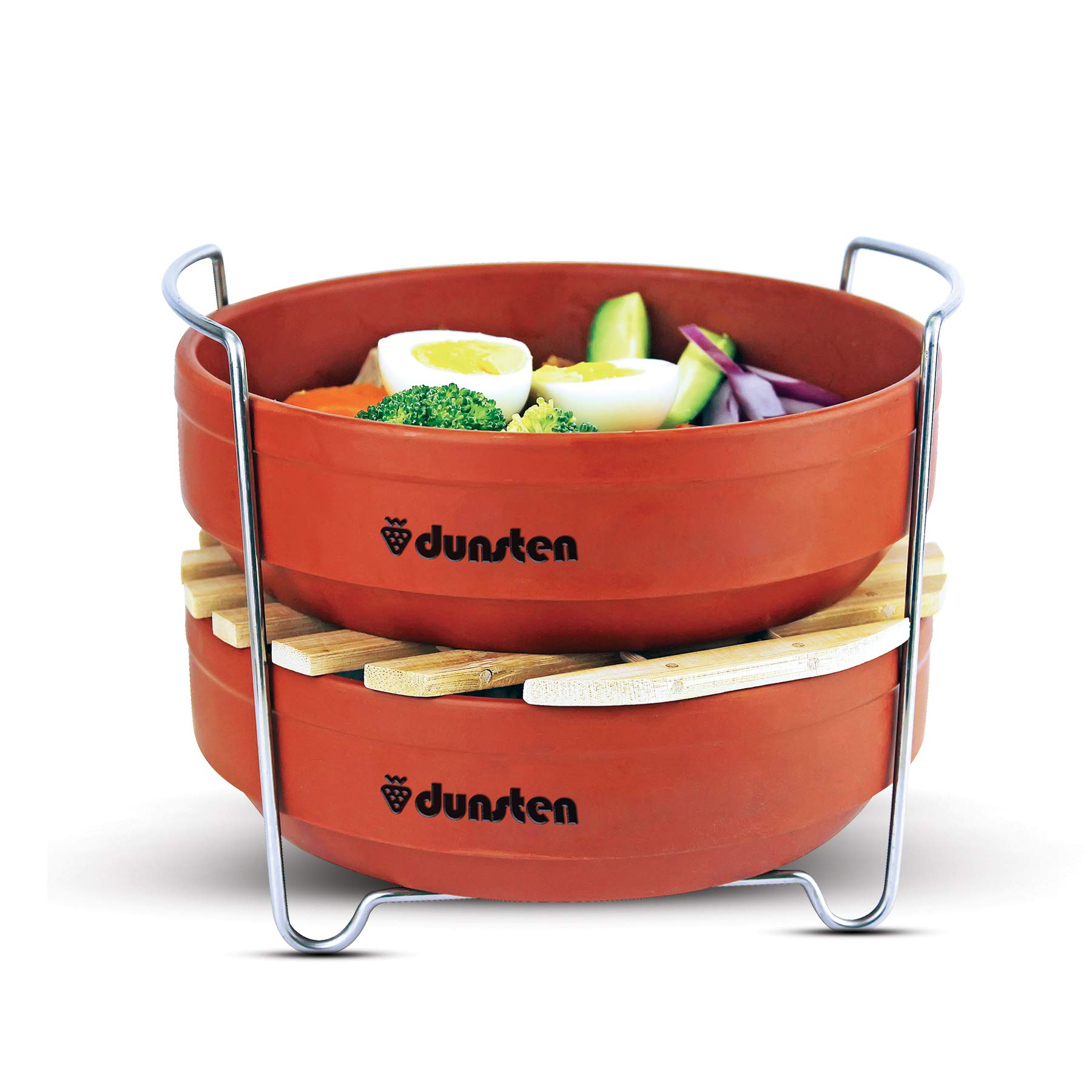Dunsten Stackable Steamer Insert Pans for 6/8 Qt Electric Pressure Cookers | Easy to Store, Reheat and Clean | Accessories for Instant Pot Cooking | Includes 1 Lid for Leftovers | Dishwasher Safe by DUNSTEN