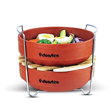 Dunsten Stackable Steamer Insert Pans for Instant Pot (6 and 8 Quart), Food Safe Stainless Steel Handles, Microwaveable Stoneware Pans | Vegetables, Rice, Meat, Pasta | Healthy Cooking (Steamer Set)