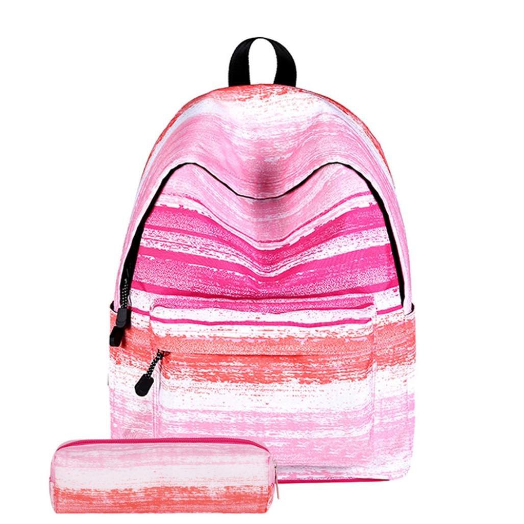 Hevoiok Schulanfang Sonderangebot Schultaschen für Teenager Mädchen Schulter Kordelzug Taschen mit Mäppchen (A, 37cm*14cm*40cm) Hevoiok-Rucksack