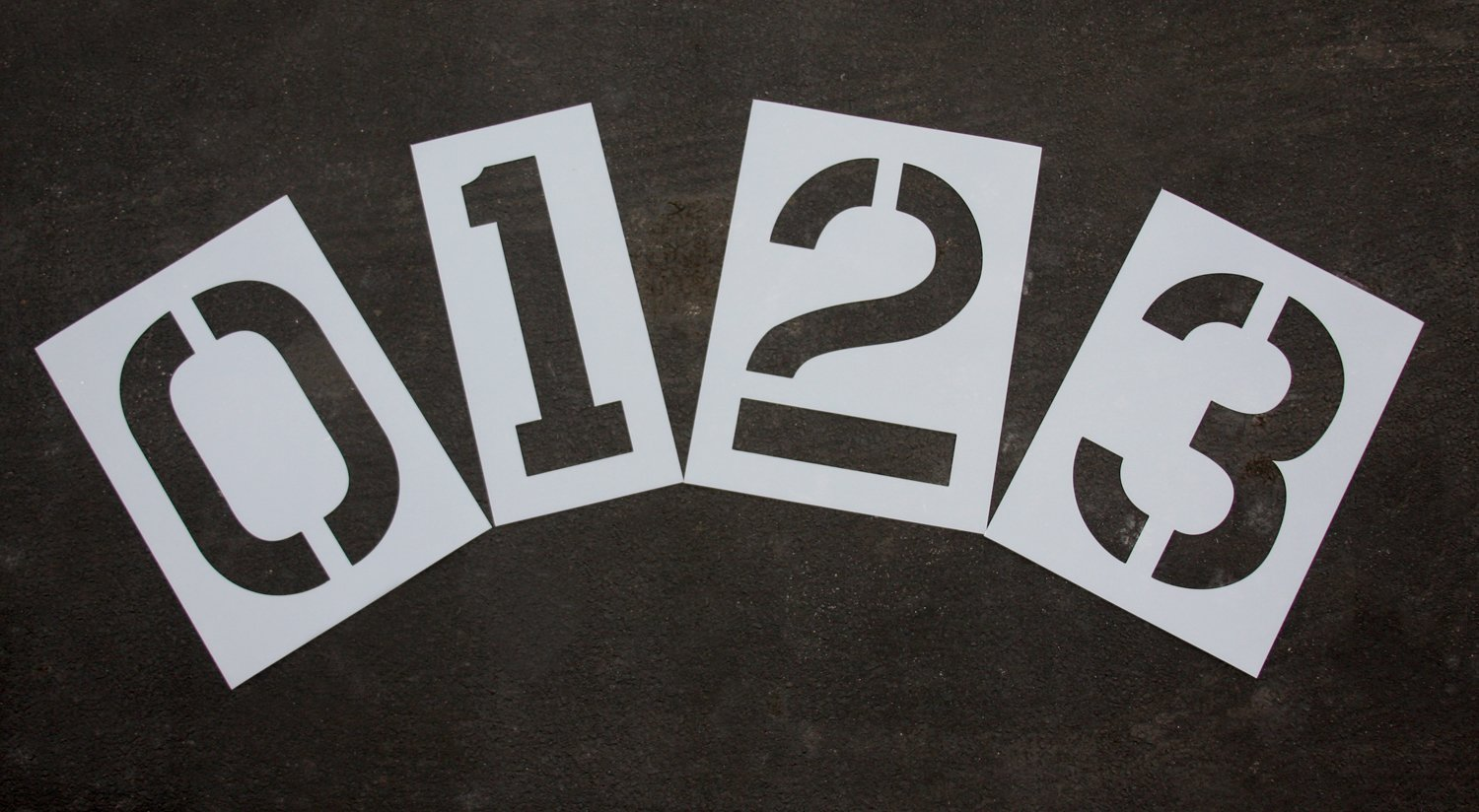 Parking Lot Pavement Stencils - 24 in - NUMBER KIT STENCIL SET - 1/8'' Pro-Grade - (12 Piece - (1) Number 0-9, and (2) blanks)