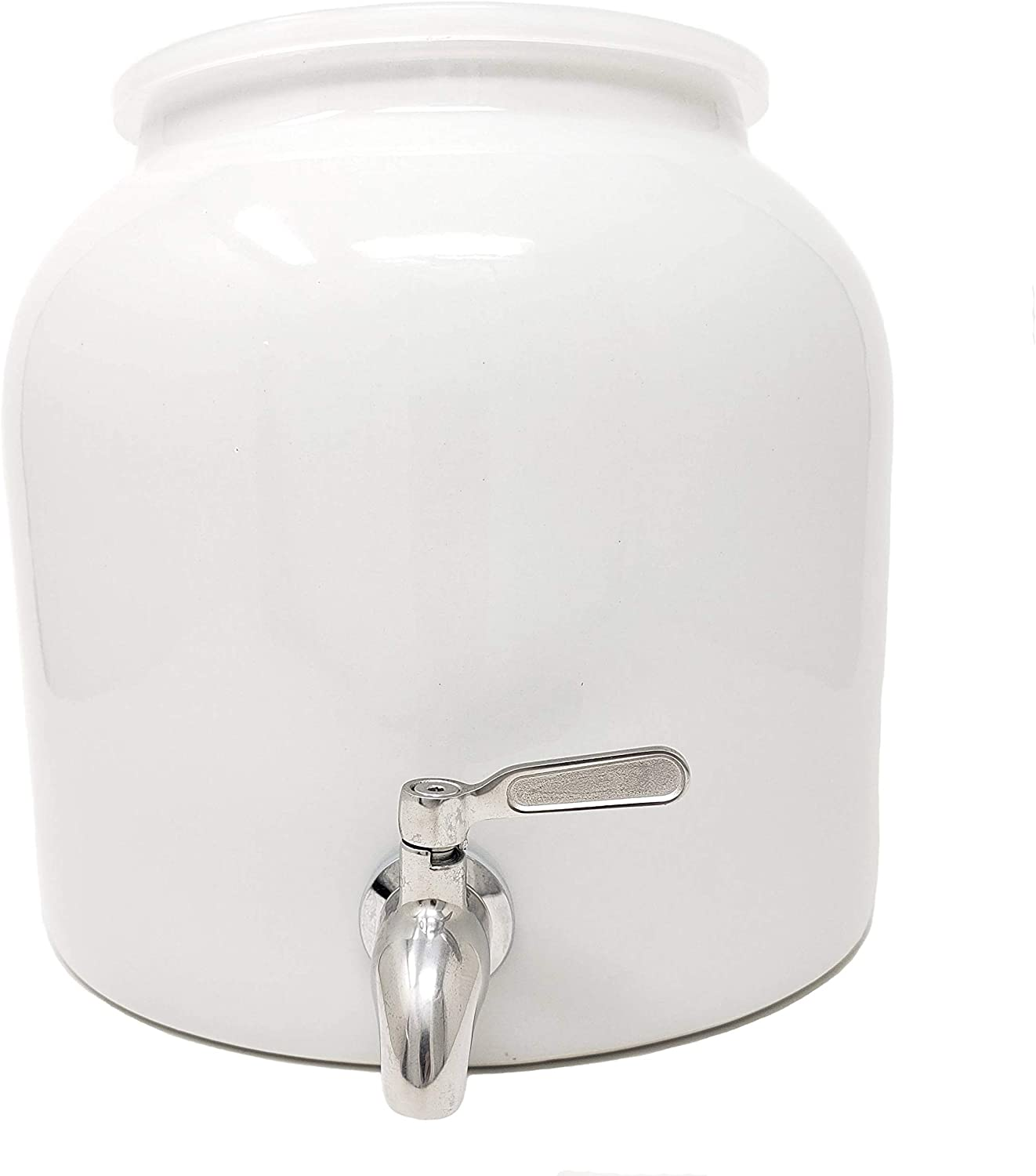 White Porcelain Water Dispenser Crock with Stainless Steel Faucet