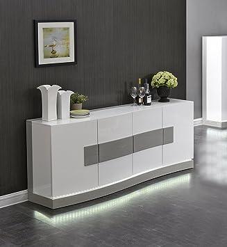 Meuble bahut Blanc et Gris avec LED - Buffet 4 Portes - Design ...