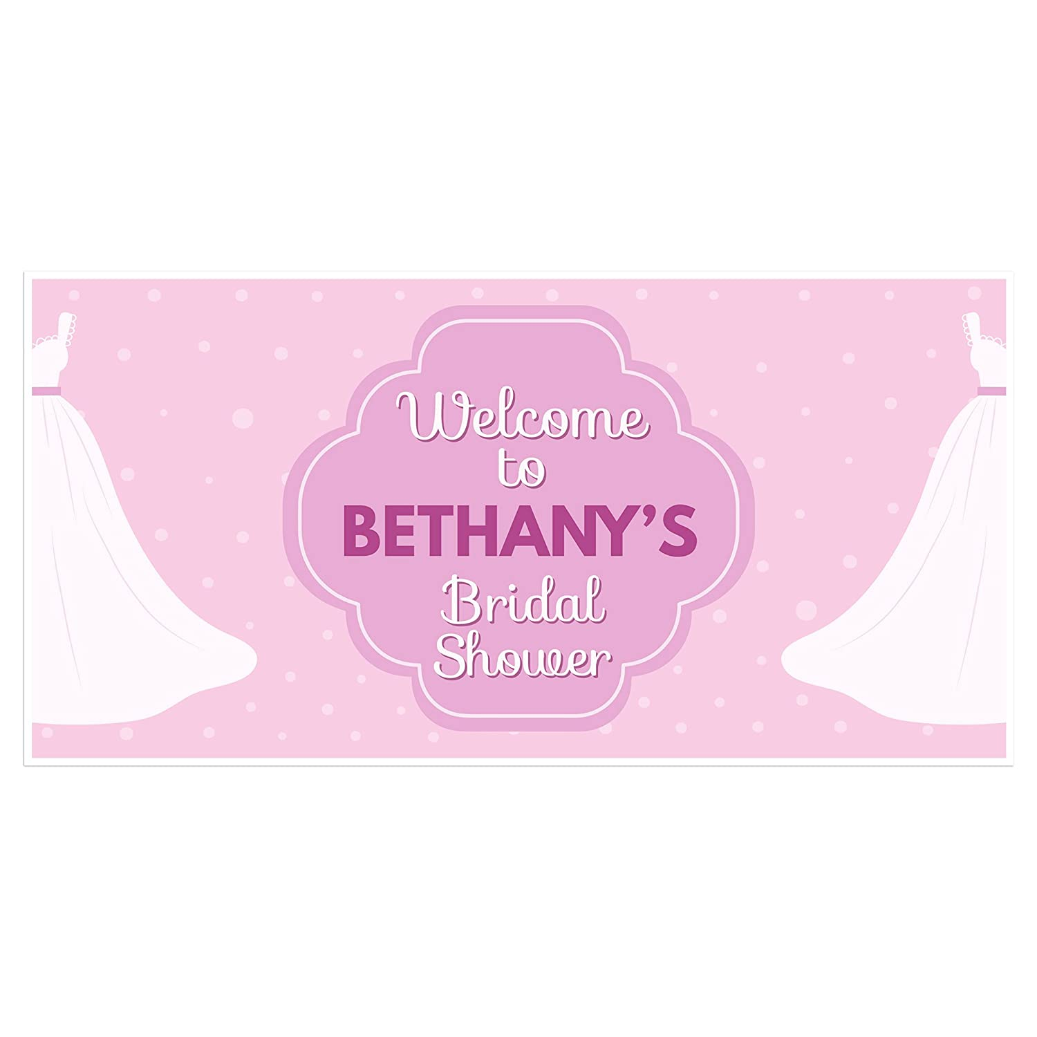 Welcome to Bridal Shower Banner Wedding Dress Personalized Party Backdrop