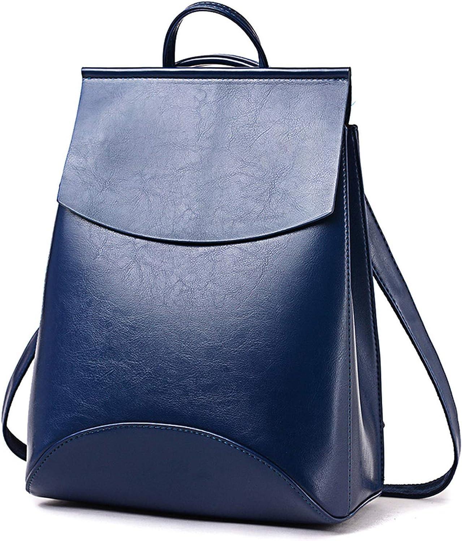 Hot Fashion Women Backpack Leather Backpacks for Teenage Girls Female School Shoulder Bag,Deep Blue