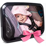 Baby & Mom Back Seat Baby Mirror - Rear View Baby Car Seat Mirror Wide Convex Shatterproof Glass and Fully Assembled - Crash