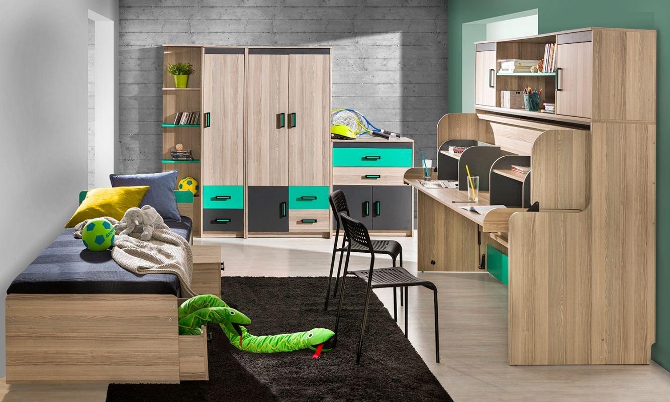 Jugendzimmer Komplett - Set H Marcel, 6-teilig, Farbe  Esche Türkis   Grau   Braun