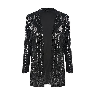 8617dfac0c7798 IRISIE Women Sparkle Sequins Open Front Long Sleeve Blazer Jacket at ...