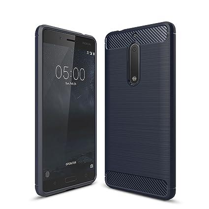 Nokia 5 Funda - Carbon fiber Soft Silicone Case Carcasa Funda para Nokia 5 - Azul
