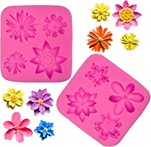 BakingWorld Flower Silicone Mold Set,Sunflower Chrysanthemum Fondant Mold for Cake Decoration Candy Chocolate Cupcake Topper Polymer Clay Soap Resin Crafting Projects(1.38-2.36 Inch Size)