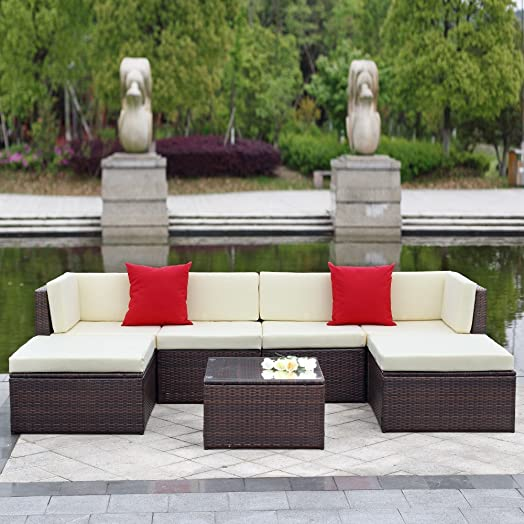 IKAYAA Outdoor Patio Garden Furniture Sofa Set 7PCS Cushioned