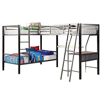 Amazoncom Ballarat L Shaped Triple Twin Bunk Bed Wdesk By