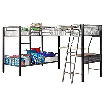 Ballarat L Shaped Triple Twin Bunk Bed W Desk By