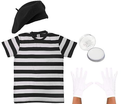 Costume travestimento da uomo e da donna Mime artista francese t shirt  berretto guanti and pittura 51ccdc42a57b