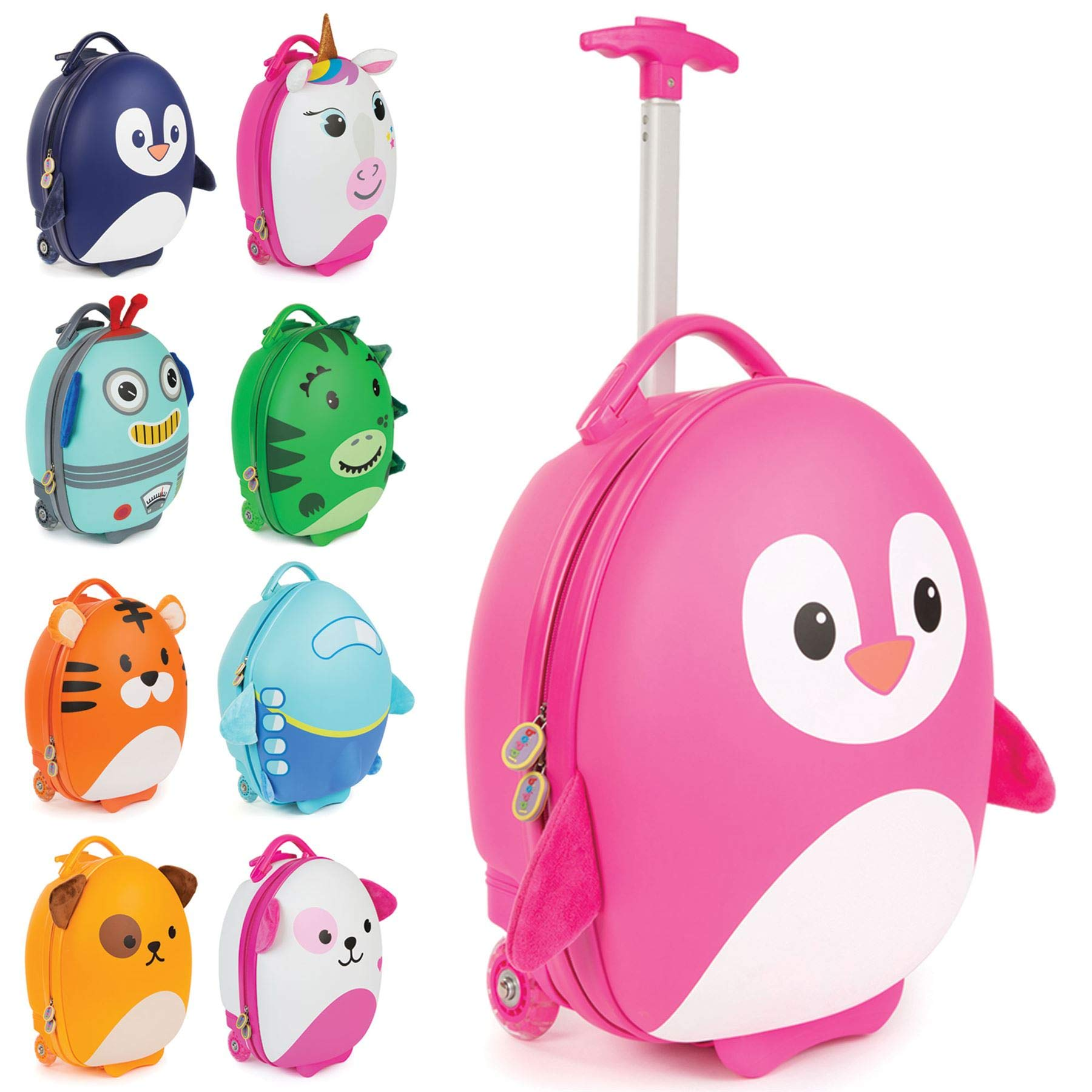 Boppi Tiny Trekker Kids Luggage Travel Suitcase Carry On Cabin Bag Holiday Pull Along Trolley Lighweight Wheeled Holdall 17 Litre Hand Case - Pink Penguin by boppi