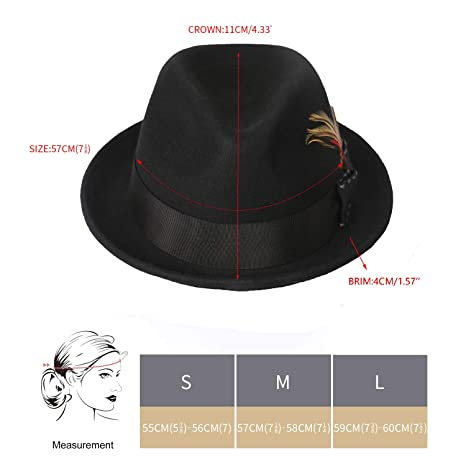 5a2aeb64adba42 Janetshats Unisex Classic Fedora Hats Wool Felt Trilby Hat with Bowknot  Feather at Amazon Men's Clothing store: