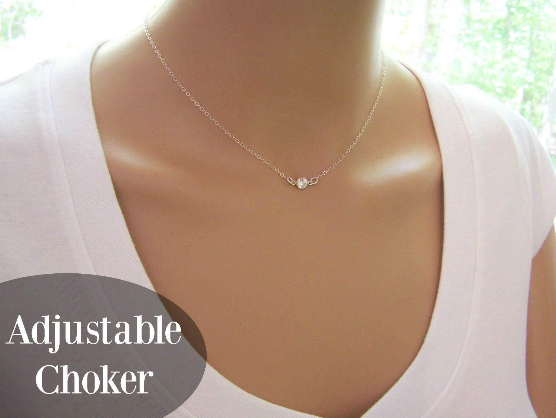 459838db73df4 Amazon.com: Diamond Alternative Dainty Sterling Silver Sparkling CZ ...