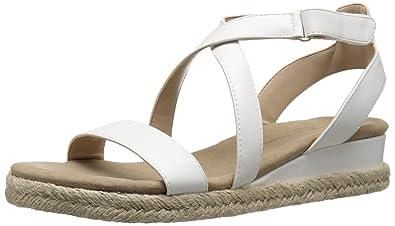 b4adb283550e ADRIENNE VITTADINI Footwear Women s Charlie Wedge Sandal White 5.5 ...