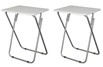 EHemco Set Of 2 Folding Tv Trays Tv Tables   White Tops