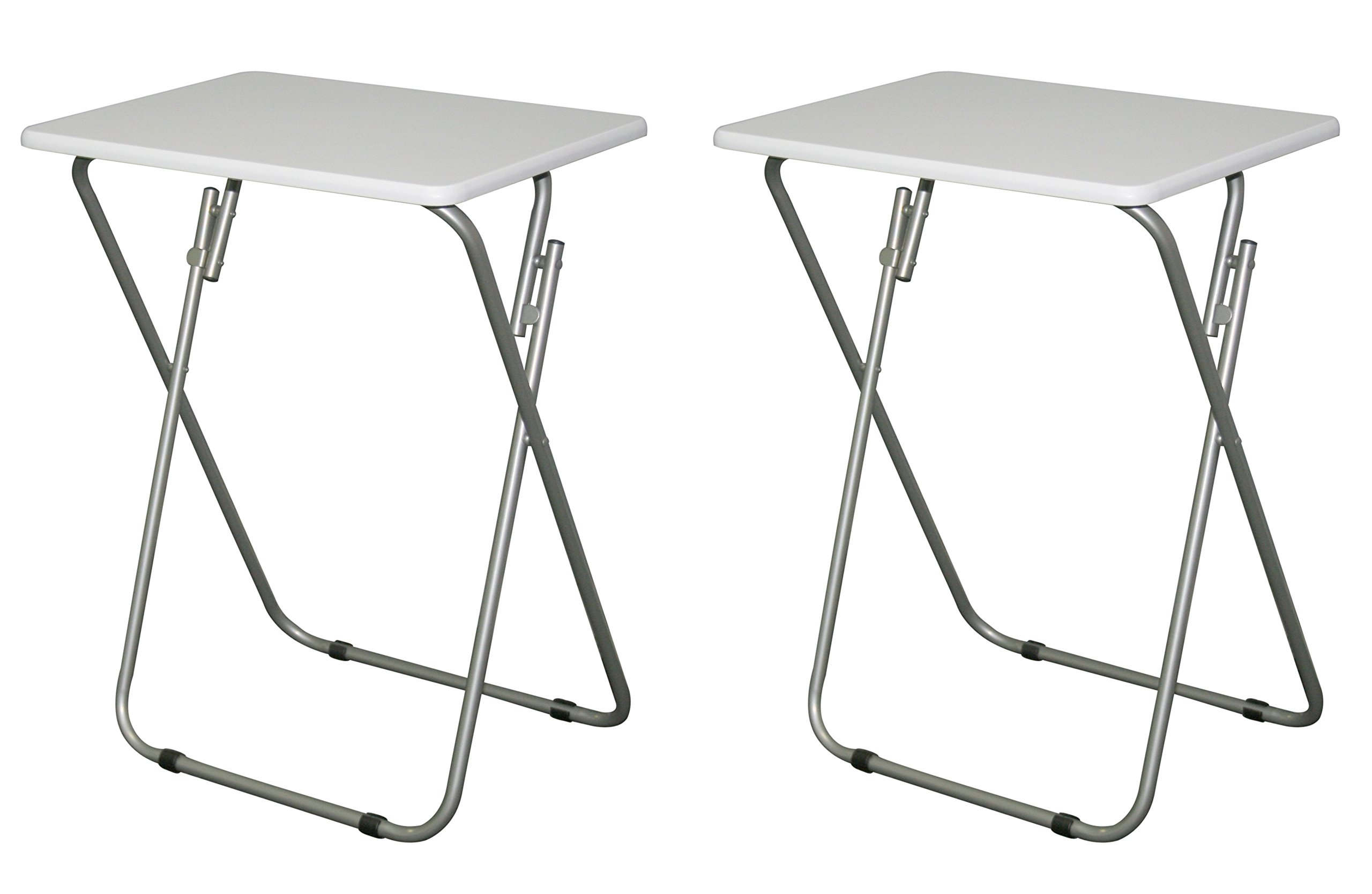eHemco Set of 2 Folding Tv Trays Tv Tables - White Tops by eHemco